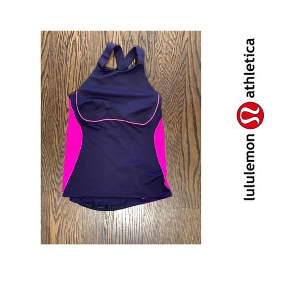 Lululemon purple pink X back bra Tamk Top 10